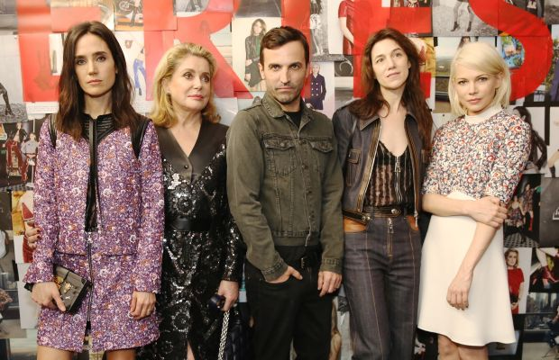 Jennifer Connelly, Catherine Deneuve, Nicolas Ghesquiere, Charlotte Gainsbourg and Michelle Williams mean mugging. Photo: Louis Vuitton