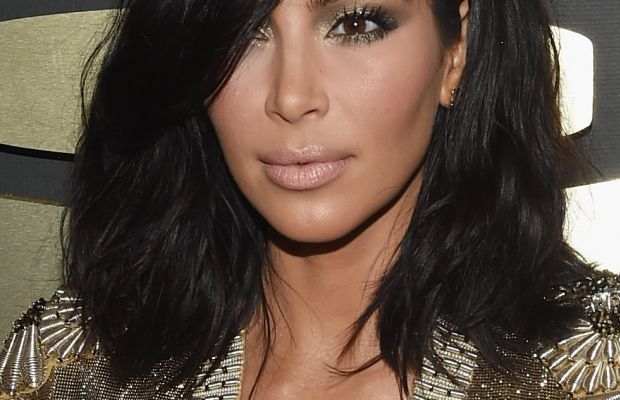 Kim Kardashian's Grammys hair, courtesy of Michael Silva. Photo: Larry Busacca/Getty Images