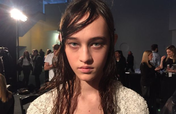 A model backstage at Alexander Wang. Photo: Eliza Brooke