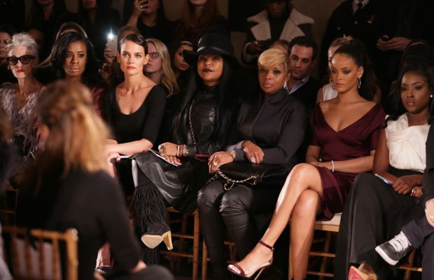 Linda Rodin, Uzo Aduba, Katie Holmes, Misa Hylton-Brim, Mary J. Blige, and Rihanna front row at Zac Posen's fall 2015 runway show. Photo: Chelsea Lauren/Getty Images