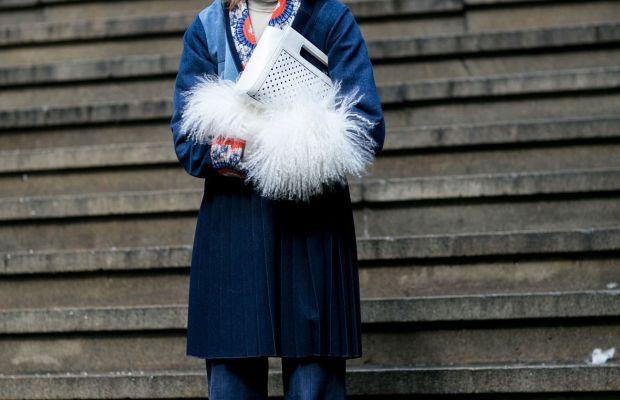 Natalie Joos in denim and fur trim. Photo: Imaxtree