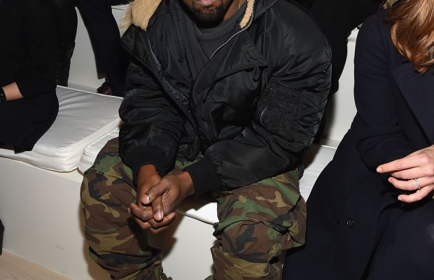 Kanye West, front row at Fashion Week. Photo: Mike Coppola/Getty Images