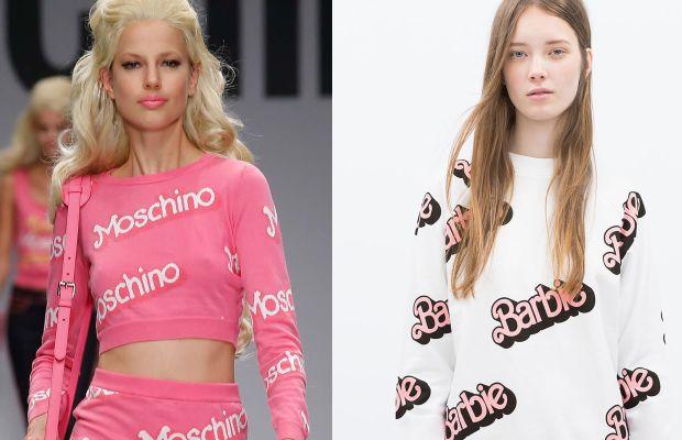 The original Moschino sweater, left. Zara's version, right. Photos: Imaxtree, Zara