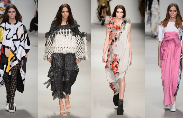 From left to right: Collection looks by designers Beth Postle, Hayley Grundmann, Paul Thomson and Catriona McAuley-Boyle. Photos: Imaxtree