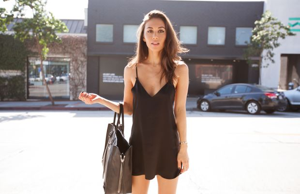 Rumi Neely in Are You Am I's slip dress. Photo: Courtesy