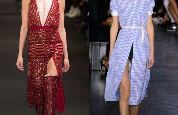 A look from the fall 2015 collection, left, and a look from the spring 2015 collection, right. Photos: Imaxtree