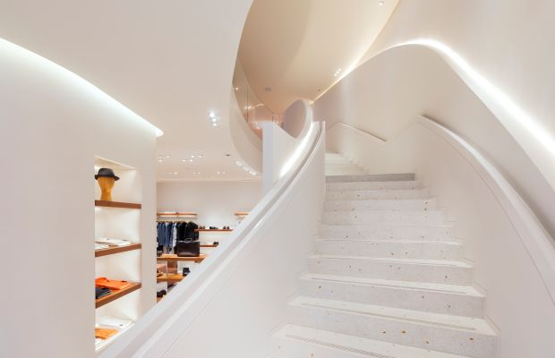 One of the store's sweeping staircases. Photo: Hermès
