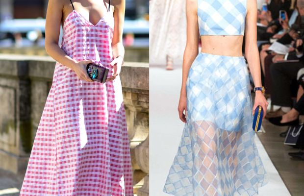 Left: On the street at Paris Fashion Week. Right: On the runway at Oscar de la Renta spring 2015. Photos: Imaxtree.