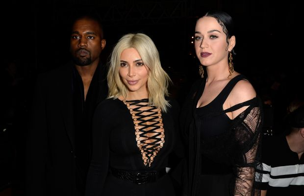 Kanye West, Kim Kardashian and Katy Perry. Photo: Pascal Le Segretain/Getty Images