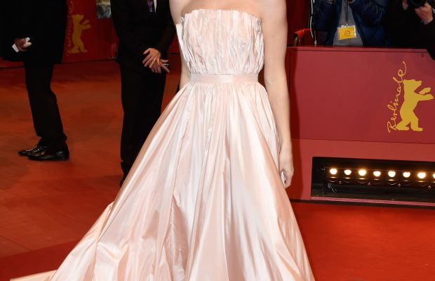 Lily James wearing custom Dior at the Berlin premiere of 'Cinderella.' Photo: Pascal Le Segretain/Getty Images