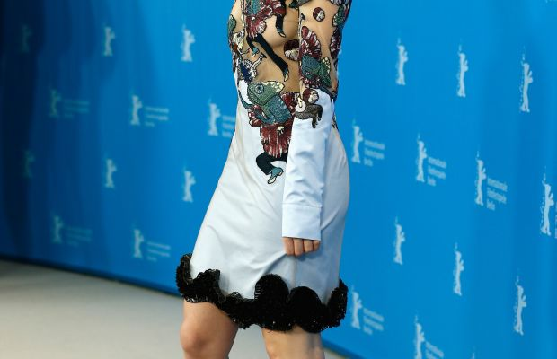 Lily James in Mary Katrantzou at a photocall in Berlin. Photo: Andreas Rentz/Getty Images