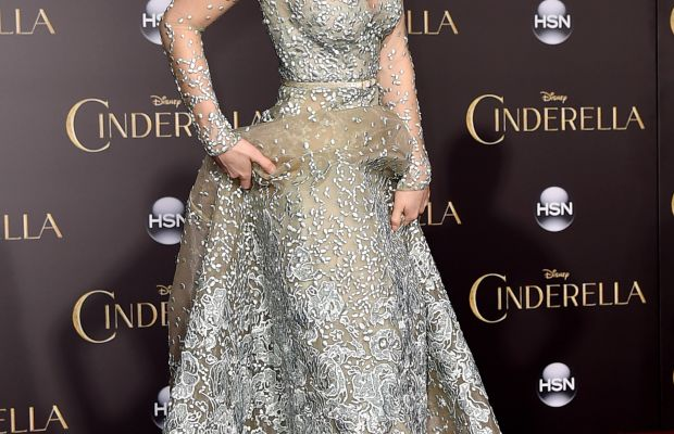 Lily James in Elie Saab and Christian Louboutin at the L.A. premiere of 'Cinderella.' Photo: Kevin Winter/Getty Images