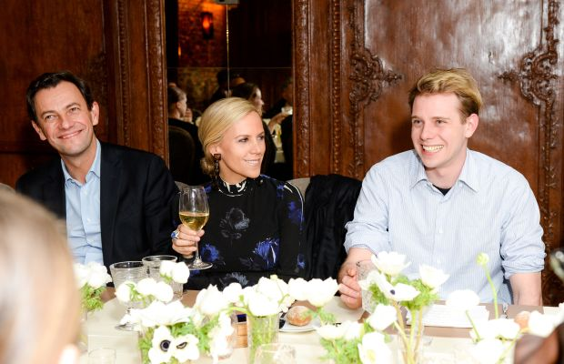 LVMH's Pierre-Yves Roussel, Tory Burch and Jonathan Anderson at a dinner hosted by Barneys Monday evening. Photo: Joe Schildhorn /BFAnyc.com