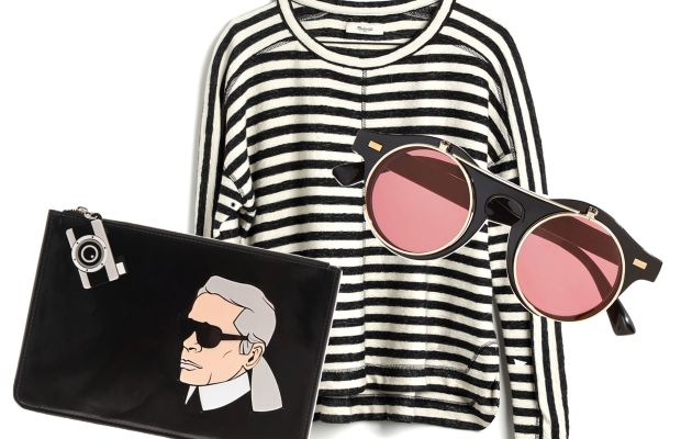 Yazbykey Karl clutch, $248 (from $495), available at Matches Fashion; Madewell pullover, $48.75 (from $65 with code WARMUP), available at Madewell; Flipped out shades, $14 (from $20), available at Nasty Gal.