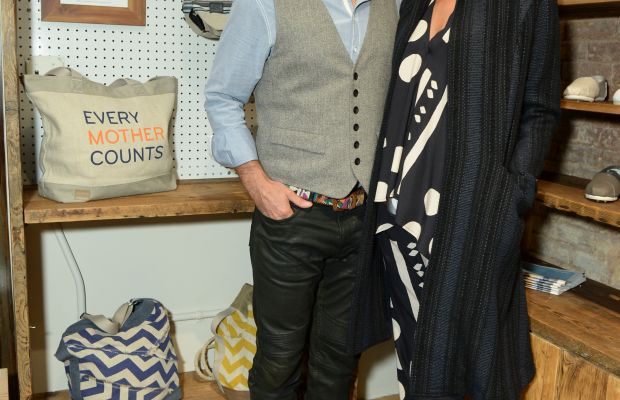 Toms founder Blake Mycoskie and Turlington at the Toms Nolita boutique. Photo: BFA