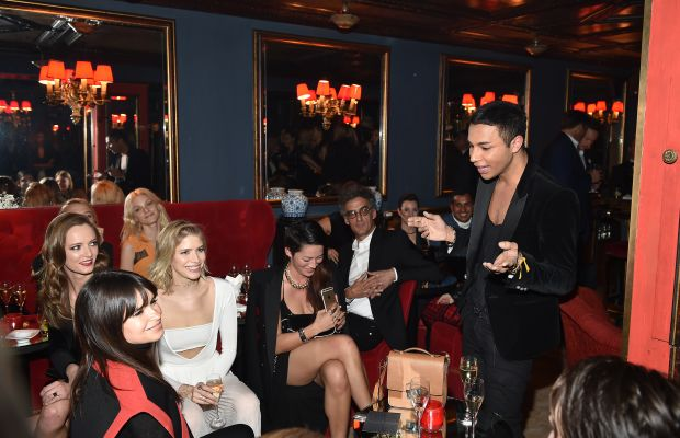 """Okay ladies, for the last time, it's RHOOS-TAIN."" Olivier Rousteing holds court at the Balmain fall 2015 runway show after-party. Photo: Jacopo Raule/Getty Images"