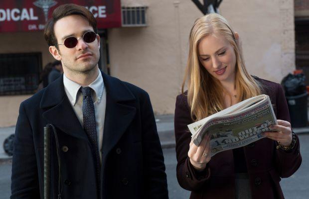 Charlie Cox as Matt Murdock and Deborah Ann Woll as Karen Page. Photo: Barry Wetcher/Netflix, Inc.