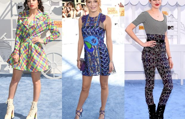 Charli XCX, Bella Thorne in Peter Pilotto and Shailene Woodley in Isabel Marant. Photos: Jason Merritt/Getty Images and Michael Buckner/Getty Images.