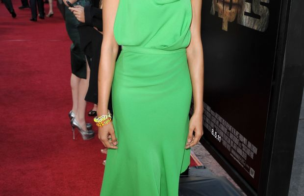 """Actress Freida Pinto wearing Juan Carlos Obando at the """"Rise Of The Planet Of The Apes"""" in Los Angeles in 2011. Photo: Kevin Winter/Getty Images"""