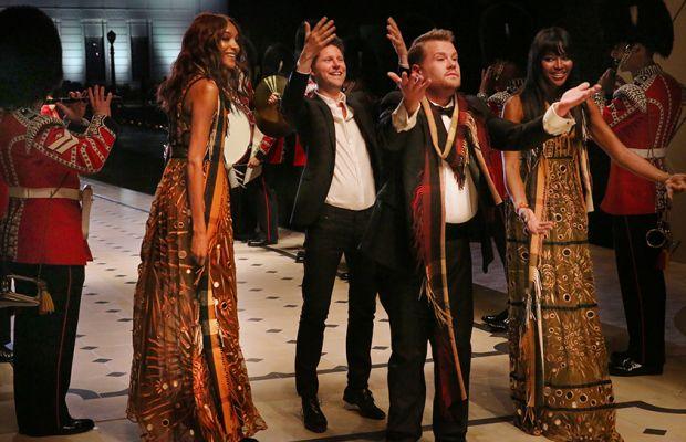 Jourdan Dunn, Christopher Bailey, James Corden and Naomi Campbell on the runway. Photo: Burberry