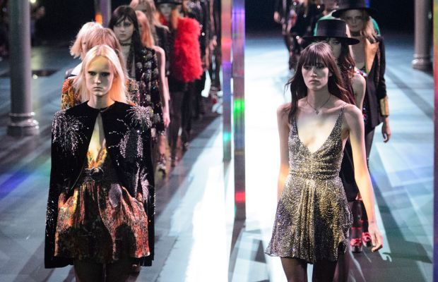 The finale at Saint Laurent's spring 2015 show. Photo: Imaxtree