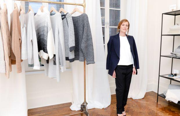 Creative director Caroline Belhumeur in front of a rack of cashmere. Photo: BFA