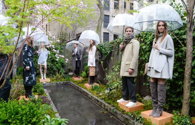 Models hanging out at the drizzly Club Monaco presentation Wednesday. Photo: BFA