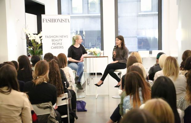 """Fashionista's Eliza Brooke and Into the Gloss and Glossier co-founder Emily Weiss at Fashionista's """"How to Make It in Fashion"""" meetup in New York on Wednesday. Photo: Nina Frazier Hansen/Fashionista"""