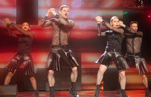 Das Sound Machine in their mesh outfits. Photo: Richard Cartwright / Universal Pictures