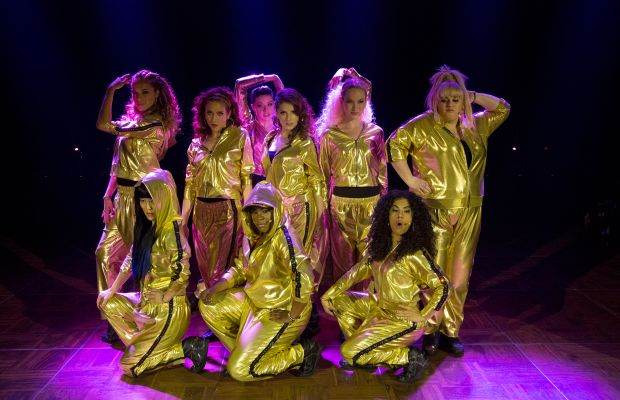 The Barden Bellas with their tearaway pants still on. Photo: Richard Cartwright / Universal Pictures