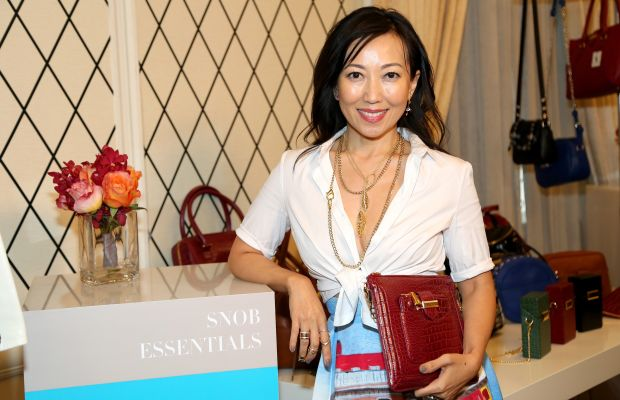 Tina Craig with the Snob Essentials bags at the HSN Fashion Lounge in September 2014. Photo: Monica Schipper/Getty Images