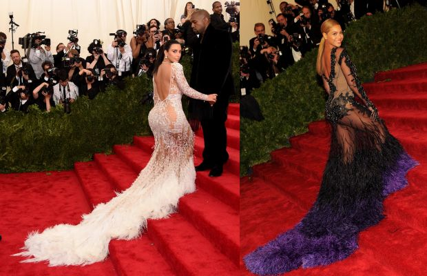 Left, Kim Kardashian in 2015. Right, Beyonce in 2012. Photos: Getty Images