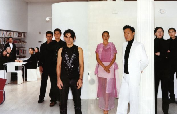 The staff of V at their headquarters with founders James Kaliardos, Cecilia Dean, and Stephen Gan. Photographed by Jason Smith.