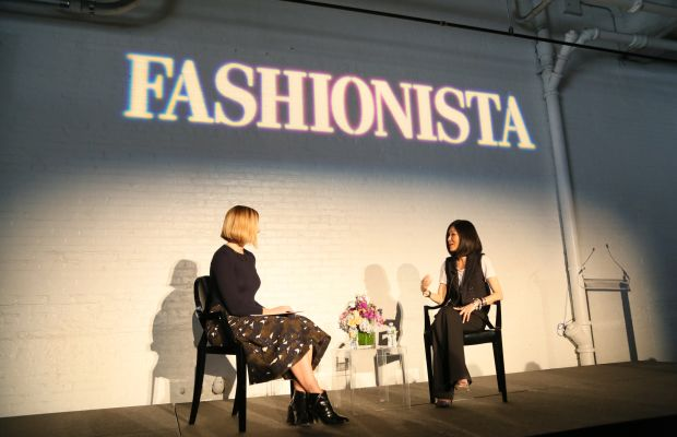 """Fashionista's Lauren Indvik and designer Marissa Webb at Fashionista's """"How to Make It in Fashion"""" conference on Friday. Photo: Fashionista"""