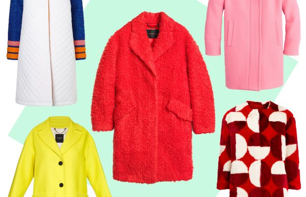 TOP LEFT: Anna K quilted collar coat, $580, available at Avenue32; CENTER: Coach fuzzy teddy bear coat, $795, available at Coach; TOP RIGHT: J.Crew stadium-cloth cocoon coat, $350, available at J.Crew; BOTTOM LEFT: Weekend Max Mara Afoso coat, $725, available at Matches Fashion; BOTTOM RIGHT: Ainea red faux fur coat, $585, available at Avenue32.