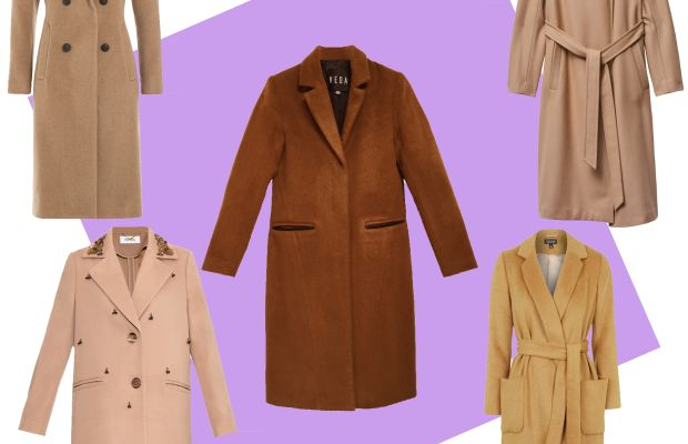 TOP LEFT: Rag & Bone camel coat, $995, available at Stylebop;CENTER: Veda wool coat camel, $770, available at Veda; TOP RIGHT: Babton Jacoby coat, $295, available at Aritzia; BOTTOM LEFT: Muveil embellished twill coat, $882, available at Matches Fashion; BOTTOM RIGHT: Topshop belted wool blend coat, $170, available at Topshop.