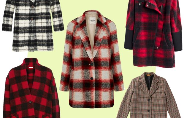 TOP LEFT: Kate Spade woodland check bow coat, $798, available at Kate Spade; CENTER: Madewell plaid wool-blend coat, $280, available at Net-a-Porter; TOP RIGHT: Madewell city grid coat in plaid, $348, available at Madewell; BOTTOM LEFT:Etoile Isabel Marant plaid coat, $530, available at Net-a-Porter; BOTTOM RIGHT: Joe Fresh plaid coat, $149, available at Joe Fresh.