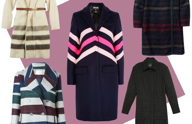TOP LEFT: Woolrich blanket coat, $550, available at Woolrich; CENTER: MSGM chevron-paneled coat, $820, available at Net-a-Porter; TOP RIGHT:Aritzia Cormac jacket, $375, available at Aritzia; BOTTOM LEFT: Carven striped short coat, $972.82, available at Farfetch; BOTTOM RIGHT:Veda chalked pinstripe coat, $855, available at Veda.