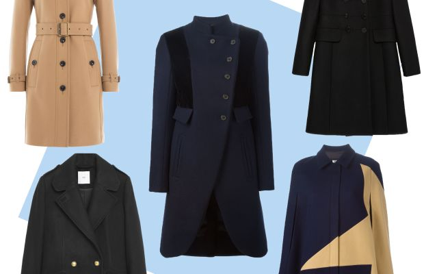 TOP LEFT: Burberry Brit virgin wool twill trench coat with cashmere,$1,235, available at Stylebop;CENTER: Marc by Marc Jacobs military coat, $1,195.87, available at Farfetch;TOP RIGHT: Zara tailored coat, $189, available at Zara;BOTTOM LEFT: Mango double-breasted wool coat, $129.99, available at Mango;BOTTOM RIGHT: MSGM two-tone cape, $729.39, available at Farfetch.
