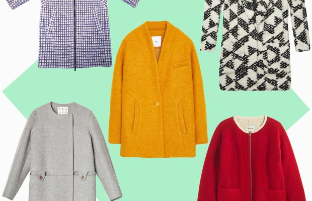 TOP LEFT: Ayr cube coat, $595, available at AYR; CENTER: Mango bouclé wool coat, $119.99, available at Mango; TOP RIGHT: Scotch & Soda cocoon coat, $355, available at Scotch & Soda; BOTTOM LEFT: Trademark collarless coat, $678, available at Trademark; BOTTOM RIGHT: Madewell sherpa-lined cocoon coat, $268, available at Madewell.
