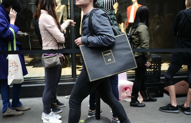 A shopper during the Balmain x H&M launch on Thursday in New York City. Photo: Daniel Zuchnik/Getty Images