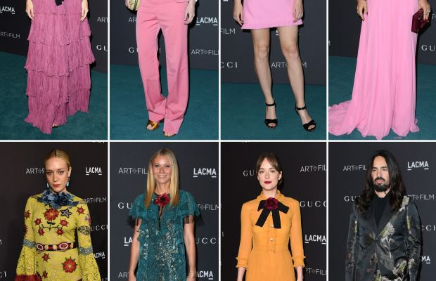 Alessandro Michele and his Gucci women. Top row from left to right: Rosie Huntington-Whiteley, Brit Marling, Saoirse Ronan, Salma Hayek. Bottom row from left to right: Chloë Sevigny, Gwyneth Paltrow, Dakota Johnson, Alessandro Michele. Photos: Getty Images