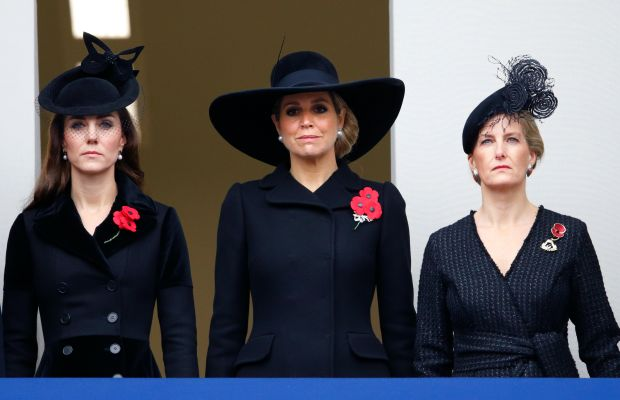 Duchess Catherine of Cambridge, Queen Maxima of the Netherlands and Countess Sophie of Wessex attend the Remembrance Day ceremony at the Cenotaph on Whitehall. Photo: Max Mumby/Indigo/Getty Images