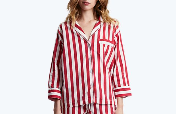 Sleepy Jones tent stripe pajama shirt, $148, available at Sleepy Jones; Sleepy Jones tent stripe pajama pant, $128, available at Sleepy Jones.