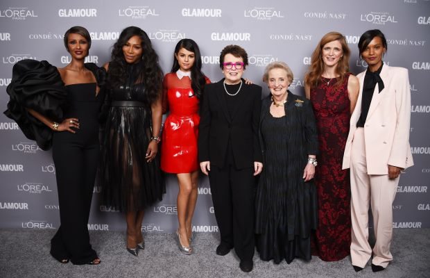 Iman, Serena Williams, Selena Gomez, Billie Jean King, Madeleine Albright, Samantha Power and Liya Kebede at the Glamour Women of the Year Awards. Photo: Dimitrios Kamouris/Getty Images