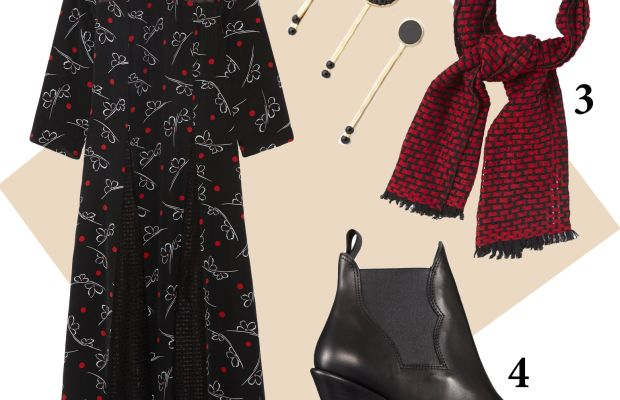 1 — Suno dress, $795, available at Net-a-Porter; 2 — Marc by Marc Jacobs hair pin set, $58, available at Shopbop; 3 — Étoile Isabel Marant, $335, available at Net-a-Porter; 4 — Acne boots, $550, available at Barneys.