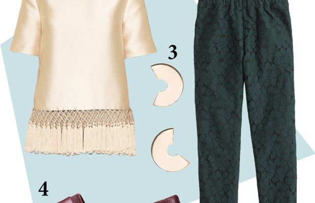 1 — C/Meo Collective top, $231, available at Shopbopand BNKR; 2 — J.Crew floral lace pants, now $99, available at J.Crew;3— Faris disco hoops, $125, available Need Supply Co; 4 — Vince haircalf flat, $275, available at Vince.