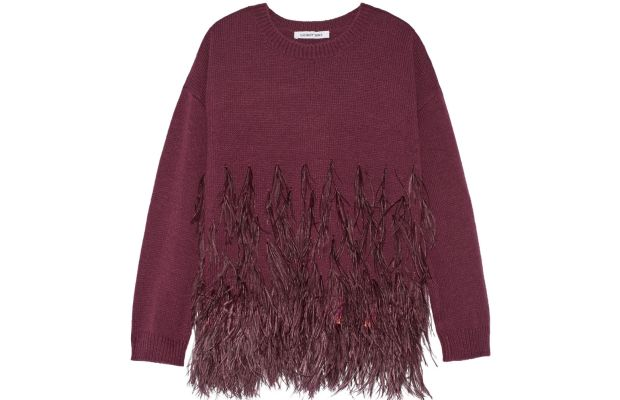 Elizabeth and James feather-trimmed cotton sweater, $485, available at Net-a-Porter.
