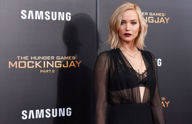 Jennifer Lawrence in Schiaparelli Couture at the 'Mockingjay, Part 2' New York premiere on Wednesday. Photo: Grant Lamos IV/FilmMagic