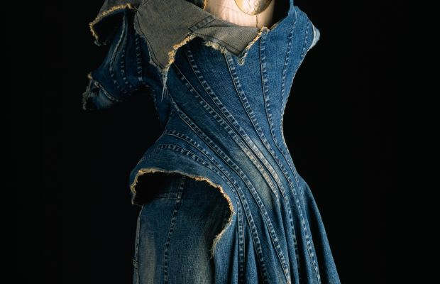 Junya Watanabe for Comme des Garçons spring 2012 repurposed denim dress. Photo: William Palmer/The Museum at FIT